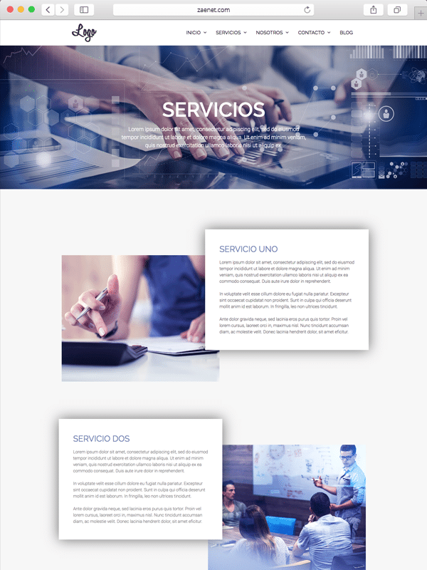 plantilla página servicios empresa